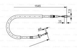 Cavo comando, Freno stazionamento BOSCH (1 987 477 857), MERCEDES-BENZ, Sprinter 4-T Bus, Sprinter 3-T Bus, Sprinter 2-T Bus