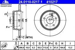 ATE Bremsscheibe Hinterachse 24.0110-0217.1