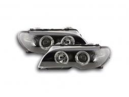 Scheinwerfer Set Angel Eyes BMW 3er E46 Coupe/Cabrio Bj. 03-05 schwarz