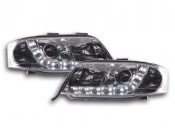 Scheinwerfer Set Daylight LED TFL-Optik Audi A6 4B Bj. 97-01 chrom
