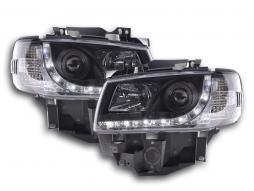 phares Daylight à LED avec look feux de jour VW Bus T4 an. 96-03 noir
