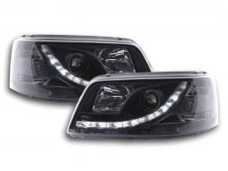 Scheinwerfer Set Daylight LED TFL-Optik VW Bus T5 Bj. 03-09 schwarz