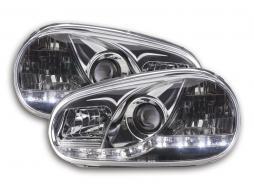 Scheinwerfer Set Daylight LED TFL-Optik VW Golf 4 Typ 1J Bj. 98-03 chrom