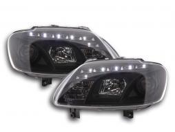 phares Daylight à LED avec look feux de jour VW Touran type 1T / VW Caddy type 2K an. 03-06 noir