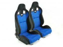 sedile sportivo sedile da corsa coppia di sedili destra + sinistra blu/nero con guide