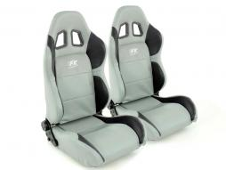 Sportseat Set Houston artificial leather grey/black seam grey