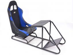 palette 3x siège de jeu pour PC et consoles de jeux tissu noir / bleu
