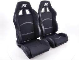 FK sport seats half bucket seats Set Cyberstar textile black with heating