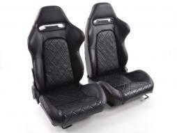 Palette 3x FK Sportsitze Auto Halbschalensitze Set Detroit Kunstleder mit Laufschienen schwarz