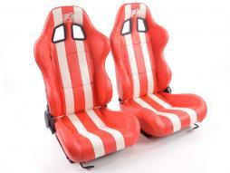palette 3x siège baquet modèle Indianapolis (1xgauche+1xdroite) rouge/blanc