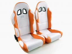 palette 3x siège baquet modèle Miami (1xgauche+1xdroite) blanc/orange