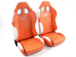 Palette 3x FK Sportsitze Auto Halbschalensitze Set New York orange/weiß in Motorsport-Optik