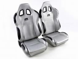 Palette 3x FK Sportsitze Auto Halbschalensitze Set New York silber/schwarz in Motorsport-Optik