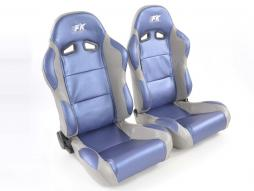 Pallet 3x Sportseat Set Racing artificial leather blue/grey