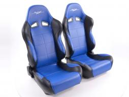 Palette 3x FK Sportsitze Auto Halbschalensitze Set SCE-Sportive 1 Kunstleder blau/schwarz