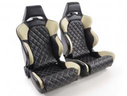 palette 3x siège baquet (gauche+droite), similicuir noir/beige, dos en GFK