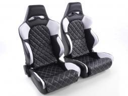 Pallet 3x Sportseat Set Las Vegas artificial leather black/white seam white