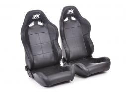 Palette 2x FK Sportsitze Auto Halbschalensitze Set Speed Echtleder in Motorsport-Optik schwarz