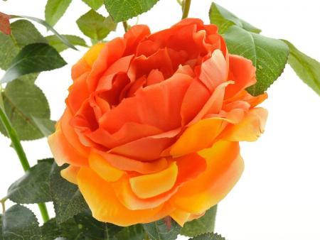 Kunstrose mit 2 Blüten und 1 Knospe orange