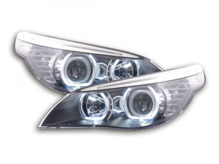 Scheinwerfer Set Angel Eyes LED BMW 5er E60/E61 Bj. 2003-2006 schwarz