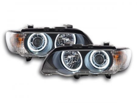 Scheinwerfer Set Xenon Angel Eyes LED BMW X5 E53 Bj. 00-03 schwarz