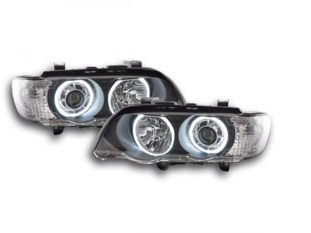 Scheinwerfer Set Angel Eyes LED BMW X5 E53 Bj. 00-03 schwarz