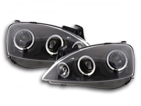 Tuning Shop | Scheinwerfer Angel Eyes Opel Corsa C Bj. 01-06 schwarz ...