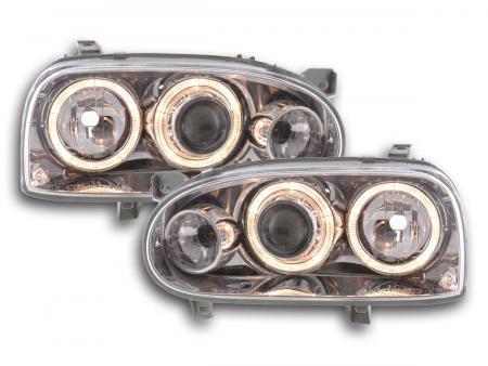 Scheinwerfer Angel Eyes VW Golf 3 Typ 1HXO, 1 EXO Bj. 91-97 chrom