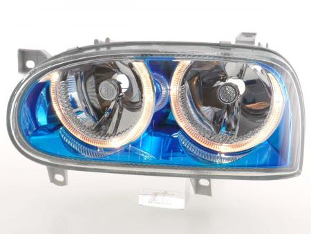 Scheinwerfer Angel Eyes VW Golf 3 Typ 1HXO, 1 EXO Bj. 91-97 blauchrom