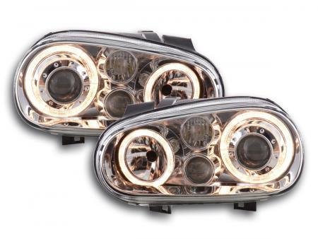 Scheinwerfer Set Angel Eyes VW Golf 4 Typ 1J Bj. 98-03 chrom