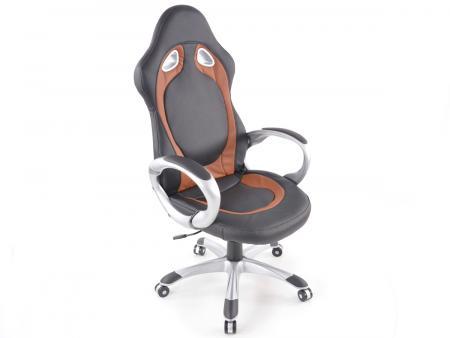 Chaise de bureau similicuir noir/brun avec accoudoirs