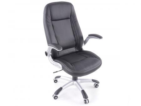 Chaise de bureau similicuir noir avec accoudoirs règlables