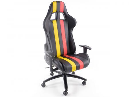 FK Sportsitz Bürodrehstuhl Toronto schwarz/rot/gelb Chefsessel Drehstuhl Bürostuhl