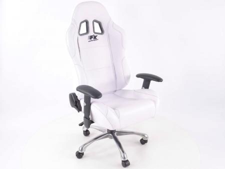 sedia da ufficio sedile sportivo con braccioli, pelle artificiale bianco, cuciture nere