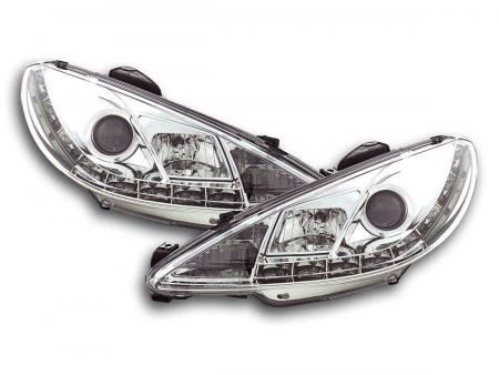 Scheinwerfer Set Daylight LED TFL-Optik Peugeot 206 Bj. 98- chrom