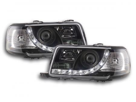 Scheinwerfer Set Daylight LED TFL-Optik Audi 80 Typ B4 Bj. 91-94 schwarz