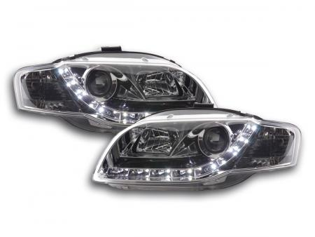 Scheinwerfer Set Daylight LED TFL-Optik Audi A4 Typ 8E Bj. 05-07 chrom