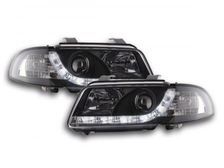 Scheinwerfer Set Daylight LED Tagfahrlicht Audi A4 B5 8D Bj. 94-99 schwarz