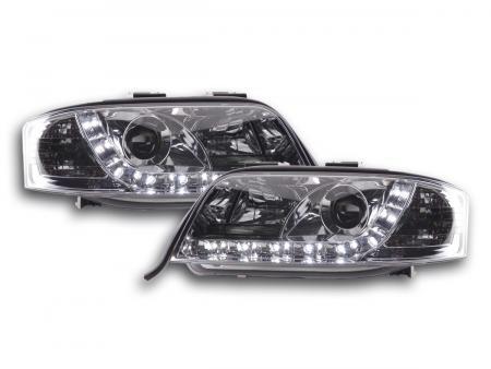 LED Tagfahrlicht Optik Scheinwerfer Audi A6 4B C5 01-04 chrom