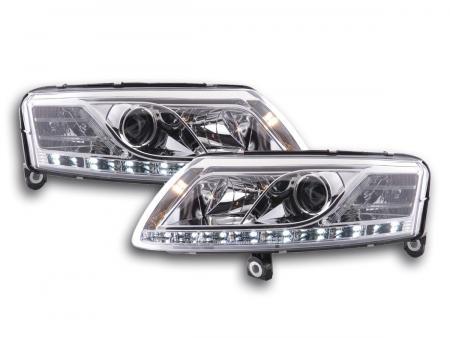 LED Tagfahrlicht Scheinwerfer Set Daylight Audi A6 4F  04-08 chrom R87