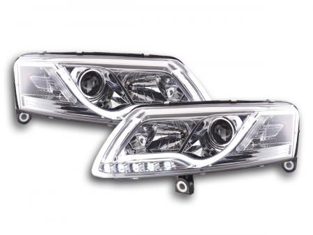 Scheinwerfer Set Xenon Daylight LED Tagfahrlicht Audi A6 4F Bj. 04-08 chrom