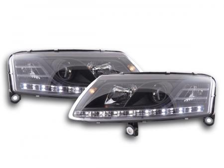 Scheinwerfer Set Daylight LED TFL-Optik Audi A6 Typ 4F Bj. 04-08 schwarz für Rechtslenker