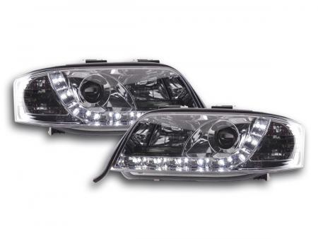 LED Tagfahrlicht Optik Scheinwerfer Set Audi A6 Typ 4B C5 97-01 chrom