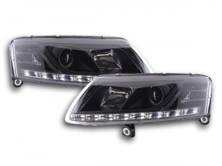 LED Tagfahrlicht Scheinwerfer Set Xenon Audi A6 4F 04-08 schwarz R87