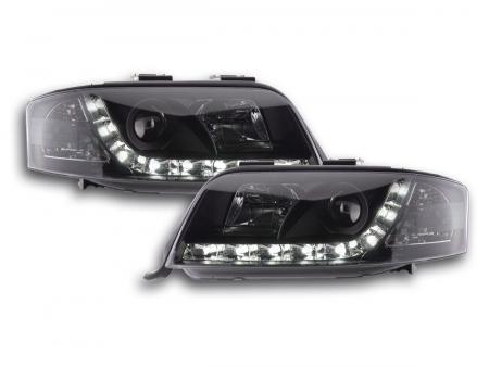 LED Tagfahrlicht Scheinwerfer Set Daylight Audi A6 4B C5 01-04 schwarz R87