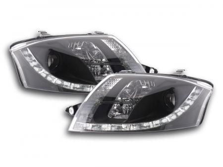 Daylight LED Tagfahrlicht Optik Scheinwerfer Set Audi TT 8N 98-06 schwarz