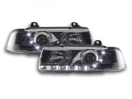 Scheinwerfer Set Daylight LED TFL-Optik BMW 3er Coupe, Cabrio Typ E36 Bj. 92-98 chrom