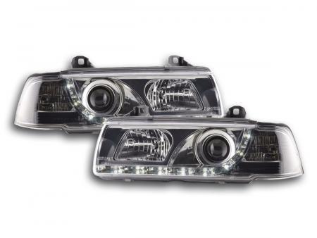 Scheinwerfer Set Daylight LED TFL-Optik BMW 3er Limo Typ E36 Bj. 92-98 chrom