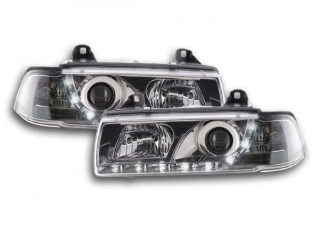 Scheinwerfer Set Daylight LED Tagfahrlicht BMW 3er E36 Coupe, Cabrio Bj. 92-99 chrom