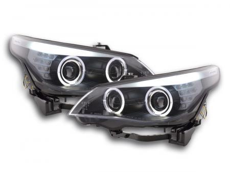 Scheinwerfer Set Xenon Angel Eyes LED BMW 5er E60/E61 Bj. 03-04 schwarz